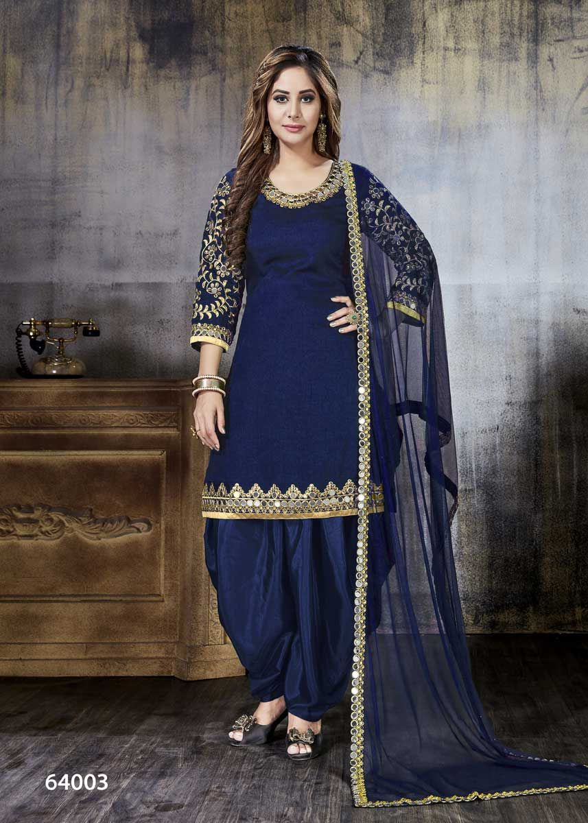 a17a323650 You can wear this Beautiful Violet Color Art Silk Mirror Work Salwar Kameez  in any party