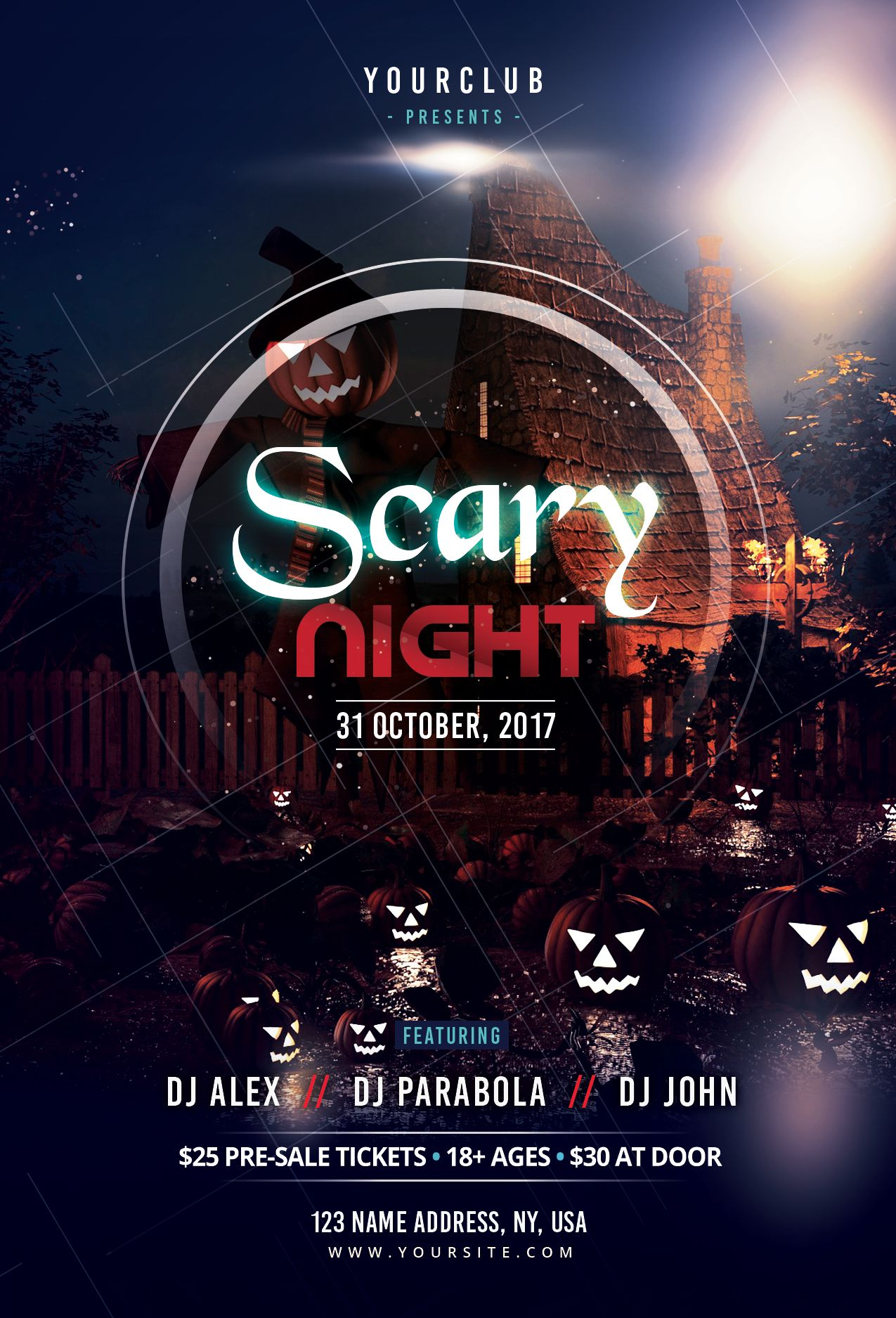 Scary Night Free Halloween PSD Flyer Template