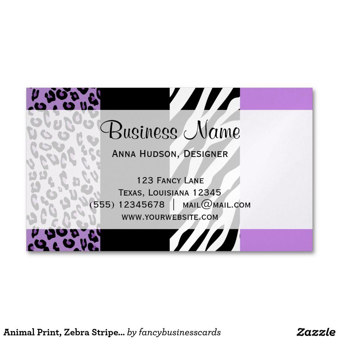 Animal Print, Zebra Stripes, Leopard - Purple Magnetic Business ...