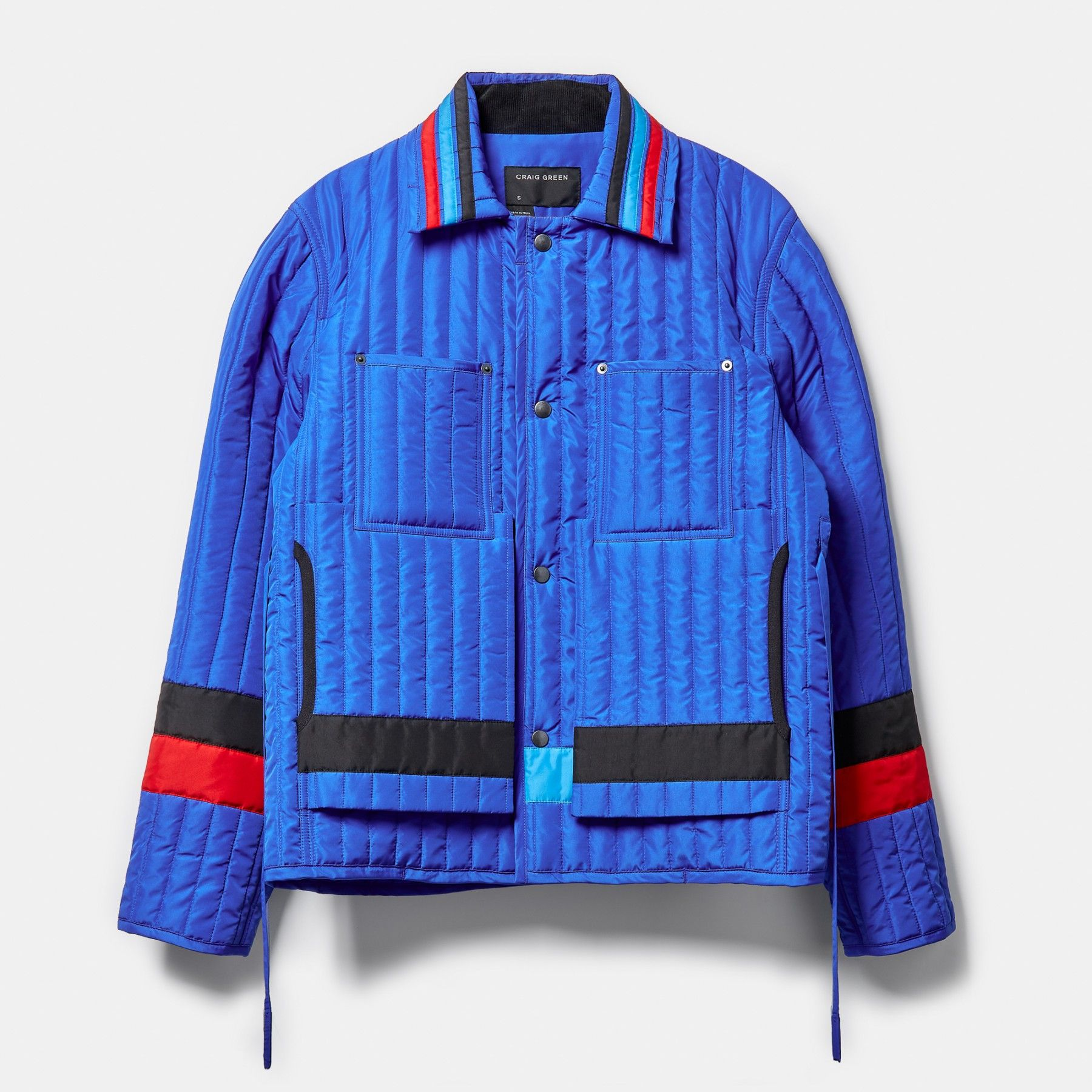 Craig Green Panelled Quilted Worker Jacket Electric Blue Craig Green Jackets Electric Blue