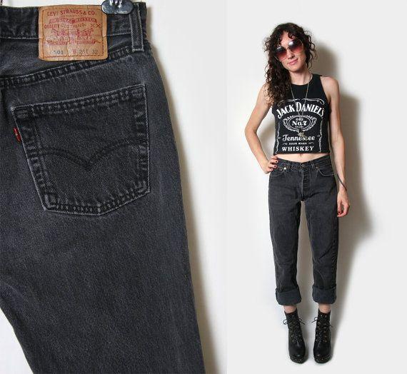 Black Levi 501 Jeans // Distressed Boyfriend Jeans // 501 Levi ...