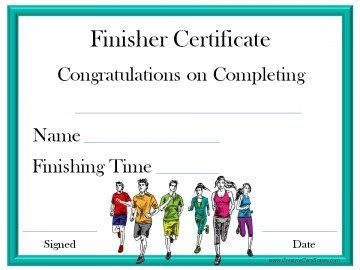 Finisher Certificate  Projects To Try