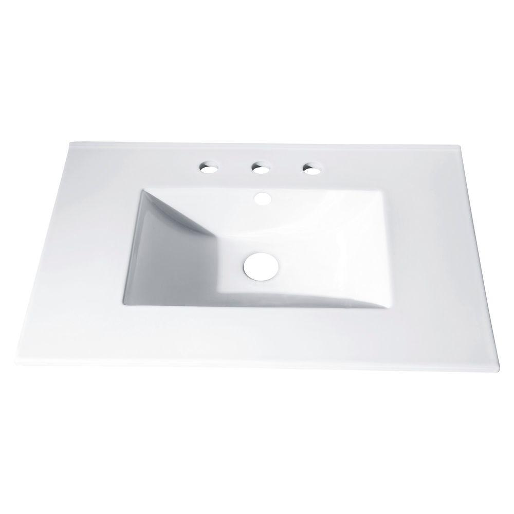 Unbranded 37 In X 22 In Vitreous China Vanity Top With Rectangular Bowl In White Cut37wt The Home Depot Vanity Tops With Sink Bathroom Vanity Tops Single Sink Bathroom Vanity