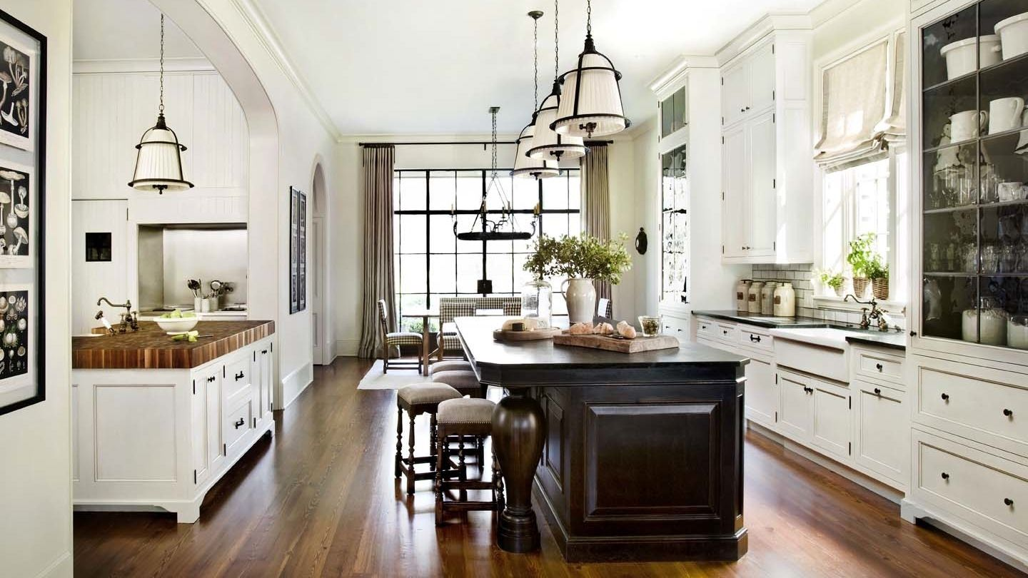 Love the whole kitchen - but especially the white island with ...