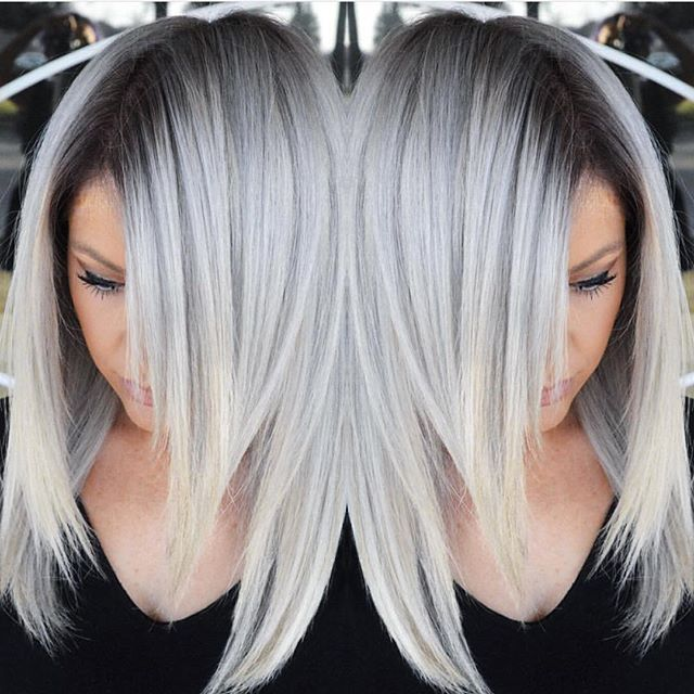 Stunning Silver Hair Color Design With Dark Shadow Root By Makeupbyfrances Multifaceted Multidimensional