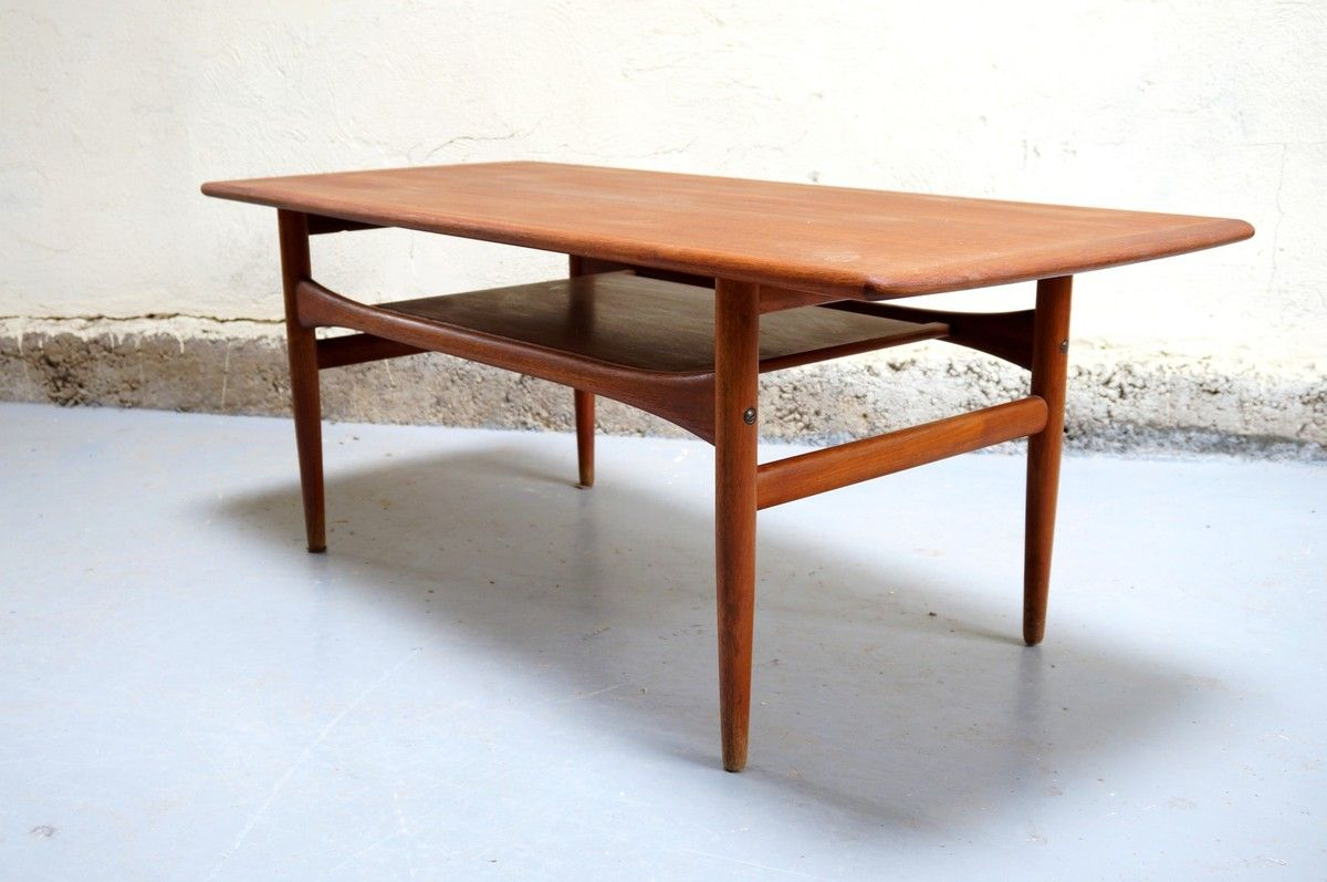 Table basse scandinave arrebo mobler danois vintage danish teck ann es ann e 50 60 mad men Table basse scandinave annee