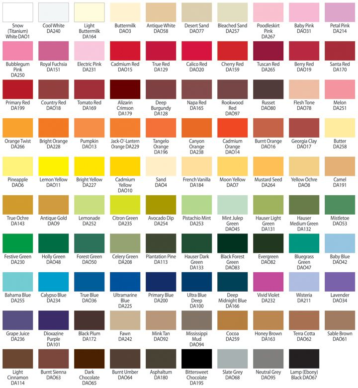 Americana acrylic paint color color mixing for Basic acrylic paint colors to have