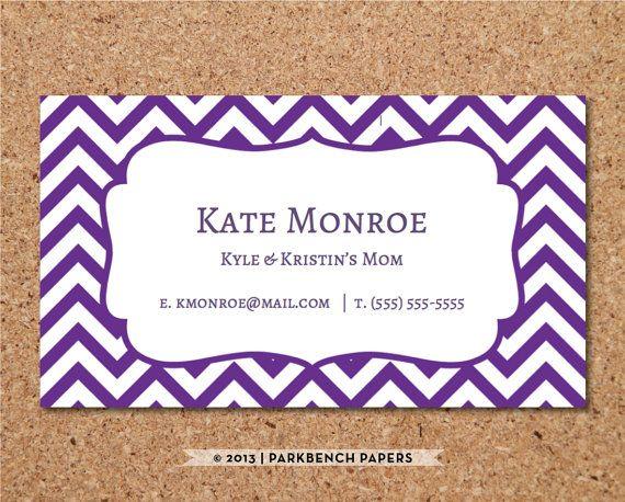 Business Card Template Purple Chevron DIY Editable Word - Editable business card templates free