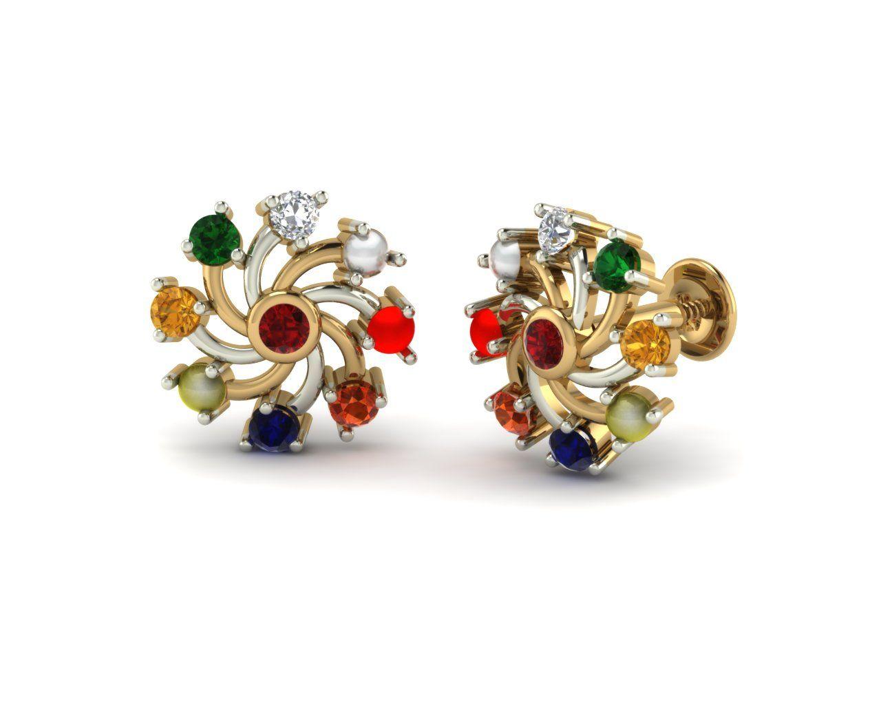 Chakra Navratna Studs   Navratna Gold Earrings Collection in