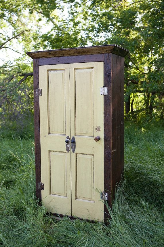 Charming Vintage Gold Storage Armoire Wardrobe Made From Reclaimed