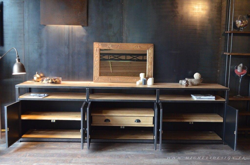 micheli design enfilade meuble de rangement acier bois 3m meubles pinterest meuble. Black Bedroom Furniture Sets. Home Design Ideas
