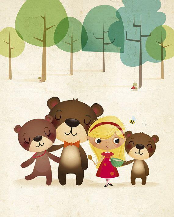 Ricitos de oro y osos, Ilustración infantil, Ilustración de los ...