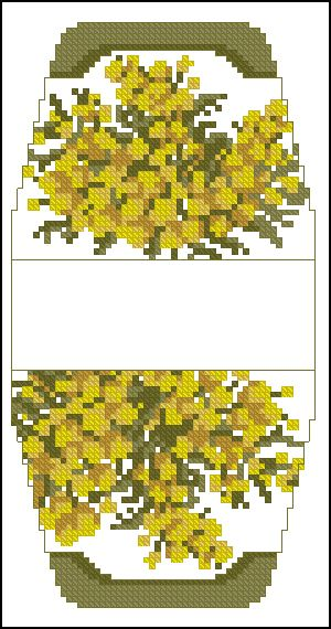Cross-stitch Yellow Flowers purse pattern... no color chart available, just use pattern chart as your color guide.. or choose your own colors..