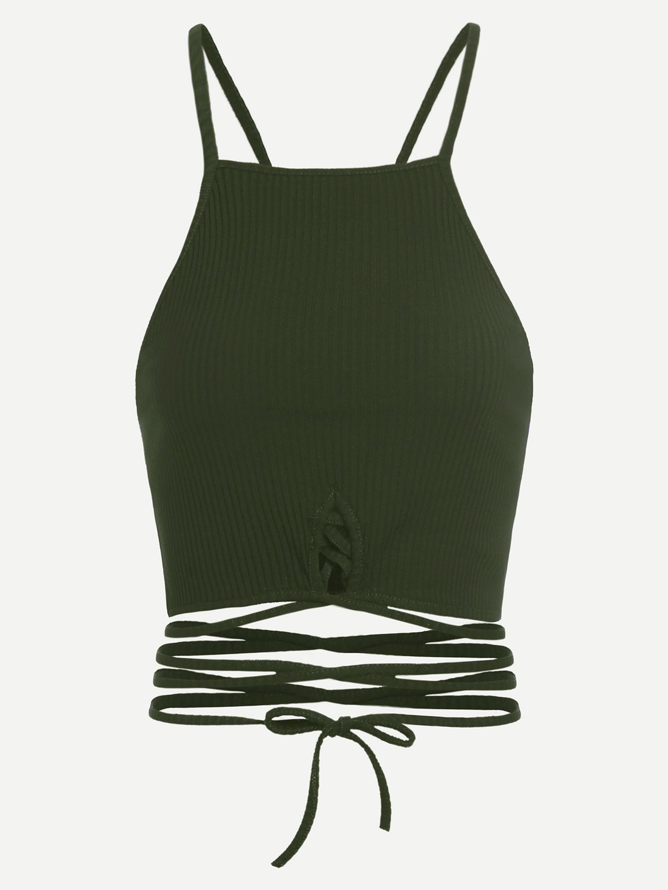 1b990d1bb085a Shop Army Green Lace Up Crop Cami Top online. SheIn offers Army Green Lace  Up Crop Cami Top   more to fit your fashionable needs.
