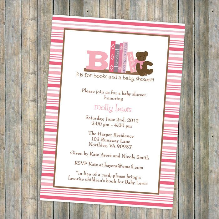 Book Baby Shower Invitation, In Lieu Of A Card Please Bring A Childrenu0027s  Book With
