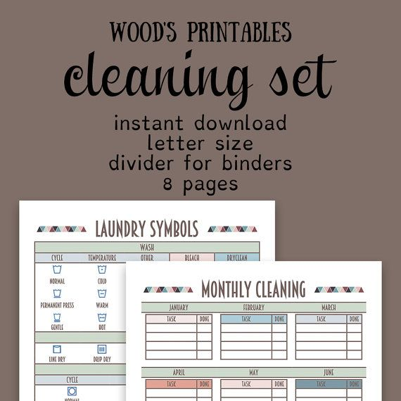 Cleaning Planner PDF Printable Cleaning By Woodsprintables