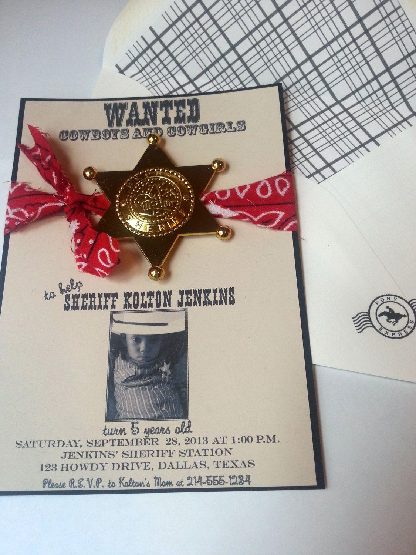 Sheriff Cowboy Birthday Invitation | Pinterest | Cowboy birthday ...