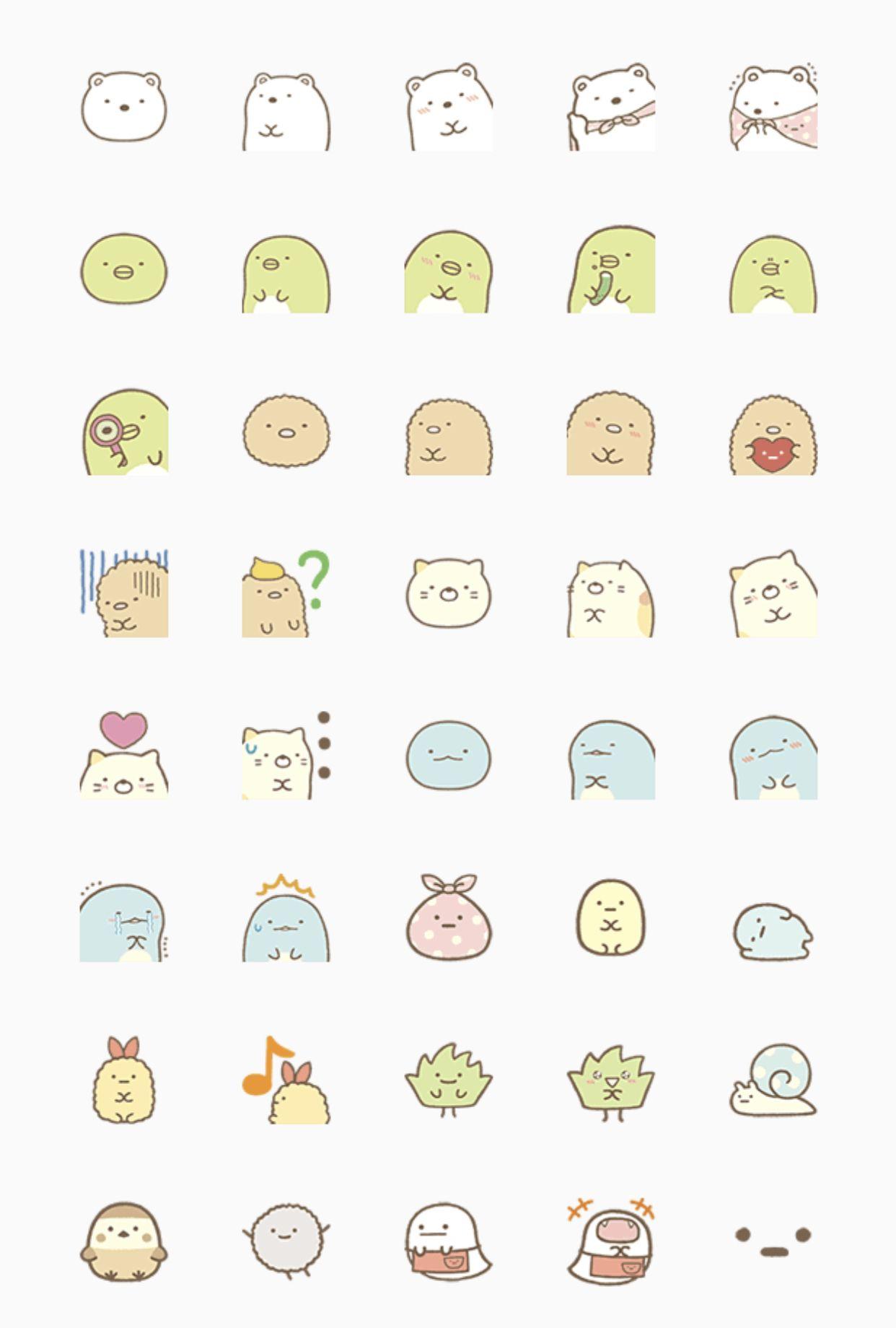 Sumikko Gurashi Emoji Set Cute Kawaii Drawings Cute Stickers Mini Drawings