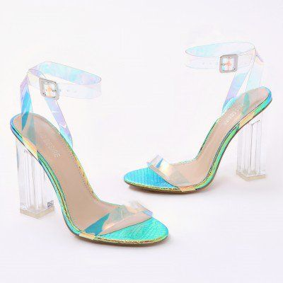 03d9f114cbd Alia Strappy Clear Perspex High Heels in Iridescent