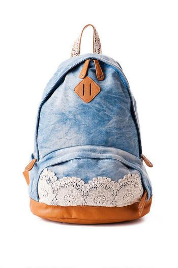 b924f78fb2 Lace and denim backpack