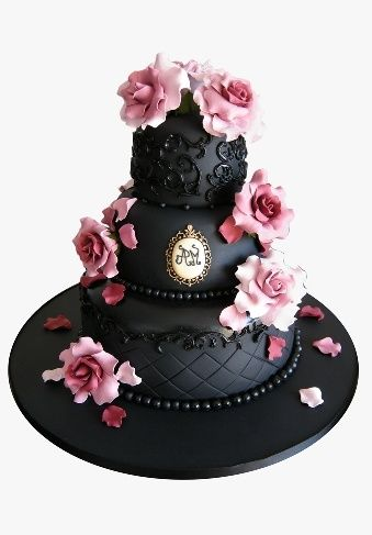 queenbee1924:  (via Black and pink roses cake / Pastel rosa y negro | ♥ pink  black ♥)   Lovely