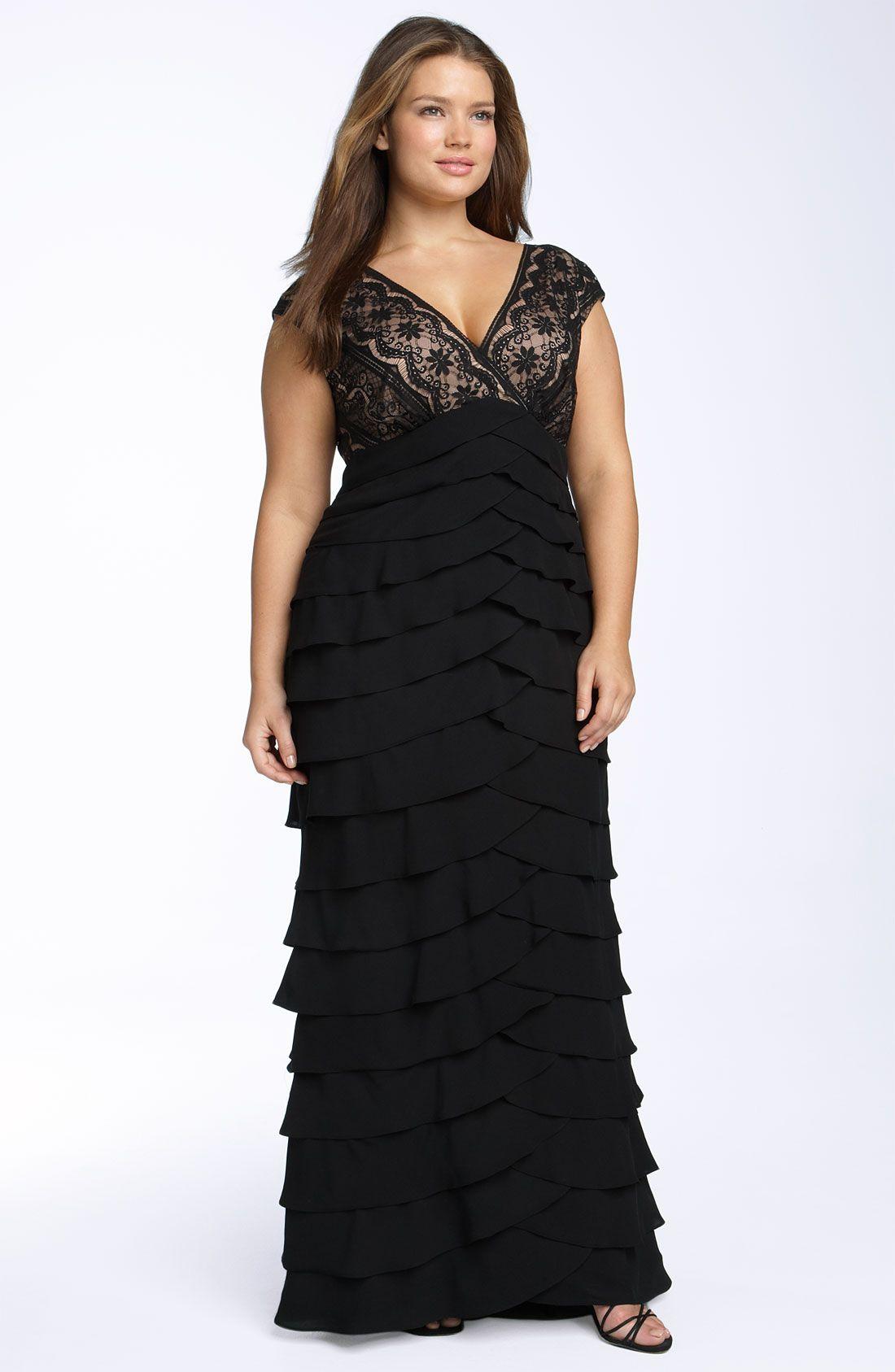 Adrianna Papell Lace Shutter Pleat Gown Plus Size Nordstrom Plus Size Outfits Fashion Plus Size Dresses [ 1687 x 1100 Pixel ]