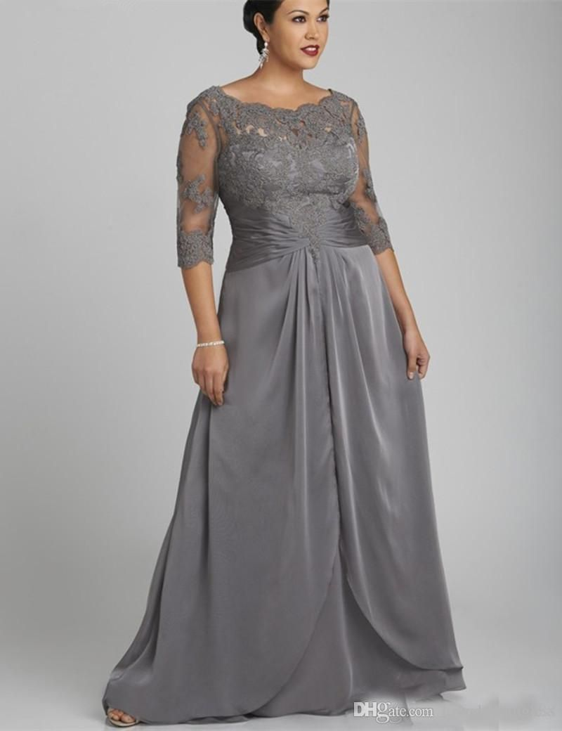 0145322611 2019 Plus Size Gray Mother of the Bride Dresses 3/4 Long Sleeves ...