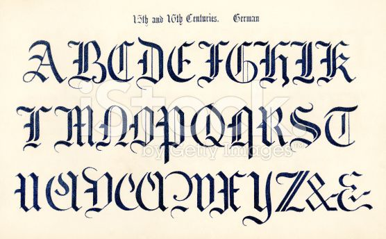 An Example Of 14th Century Old German Lettering From The Book Of