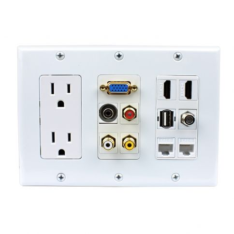 Multipurpose Design 2x Power Outlet 2x Hdmi 1x Usb 3x Rca 2x Cat6 1x 3 5mm 1xvga 1xf Type Wall Plate Plates On Wall Wall Outlets Tv Wall Design