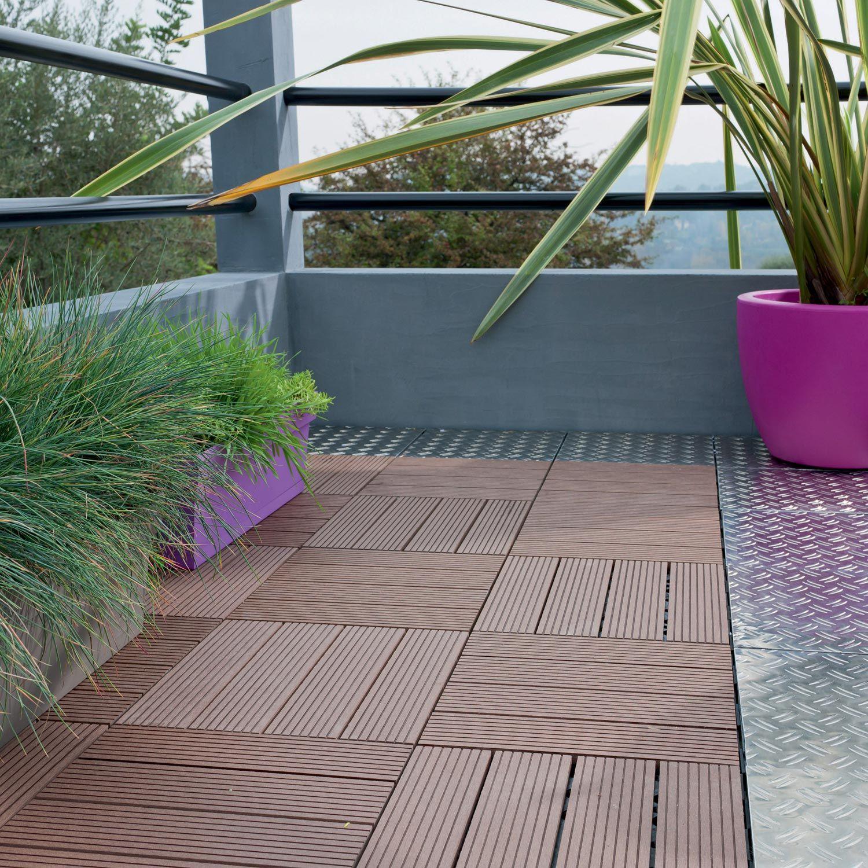 Dalle Clipsable Composite Brun L 30 X L 30 Cm X Ep 23 Mm Balkon
