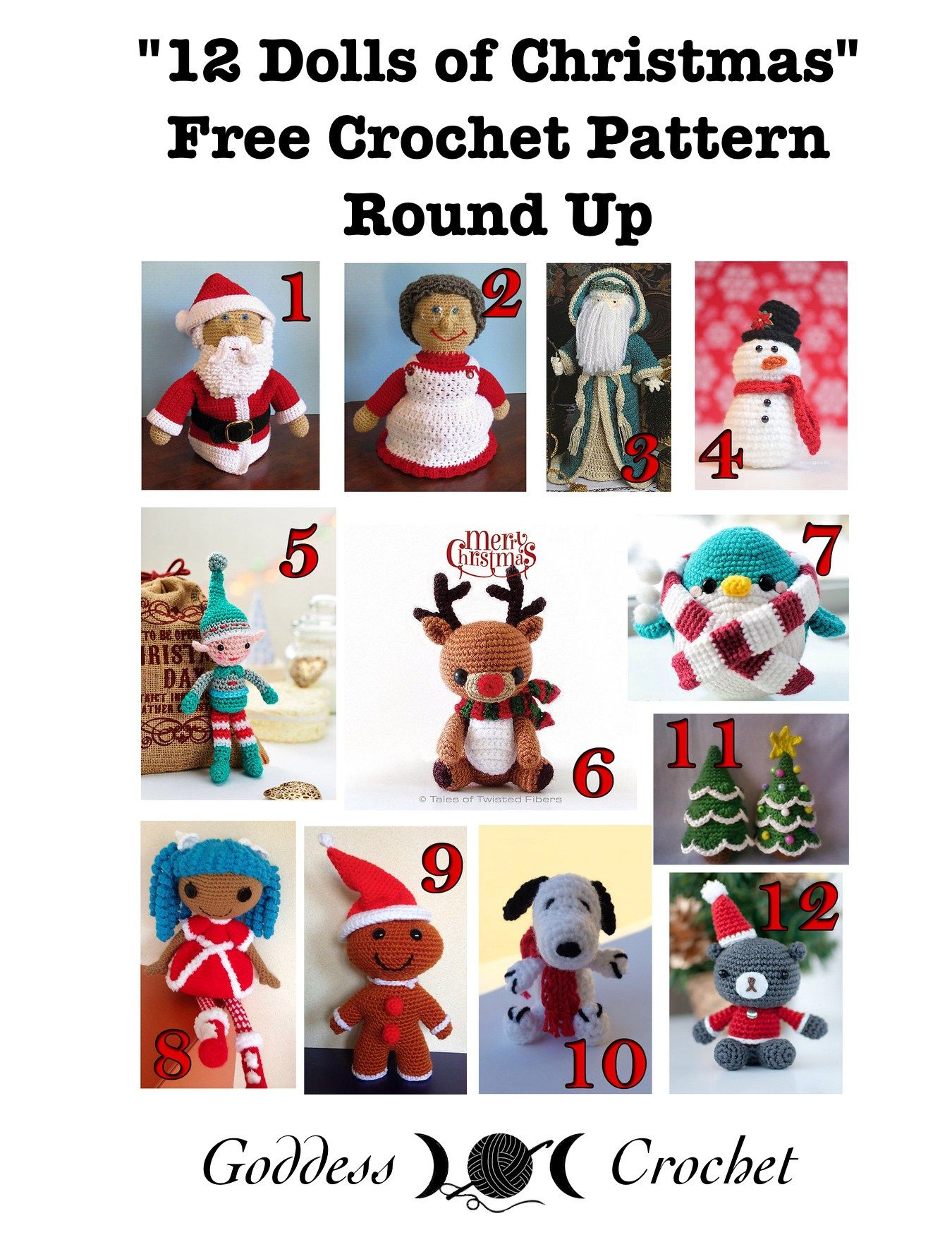 12 Dolls of Christmas - Free Crochet Pattern Round Up