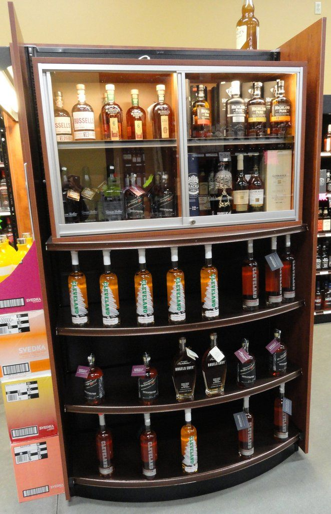 Locking 2 Tier Display Case For Valuable Wine Spirits Display