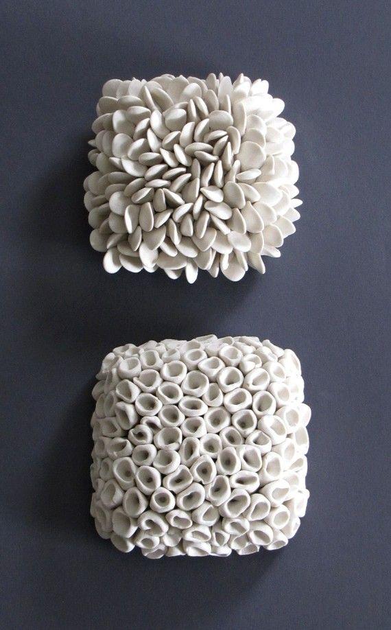 Pair Textured Porcelain Micro Tiles Wall Sculpture Art