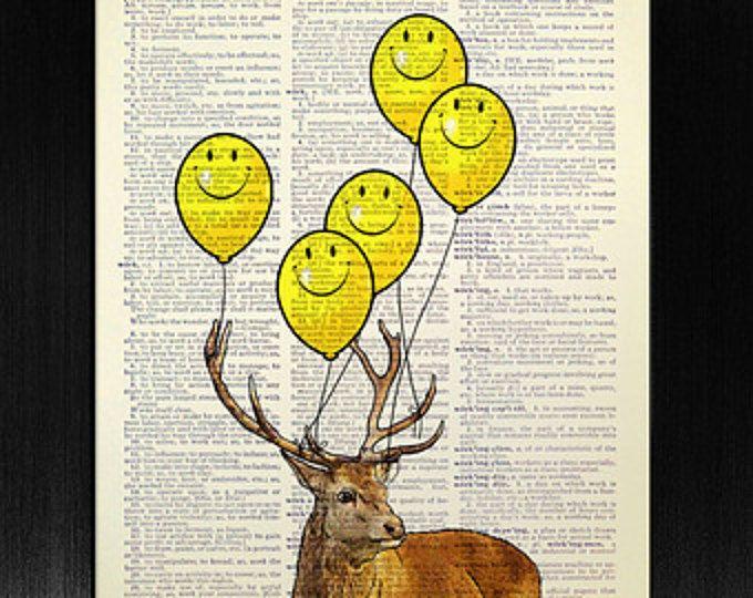 Smiley Face Emoji Balloon Print, Deer Art, Yellow Balloon Art, Deer ...