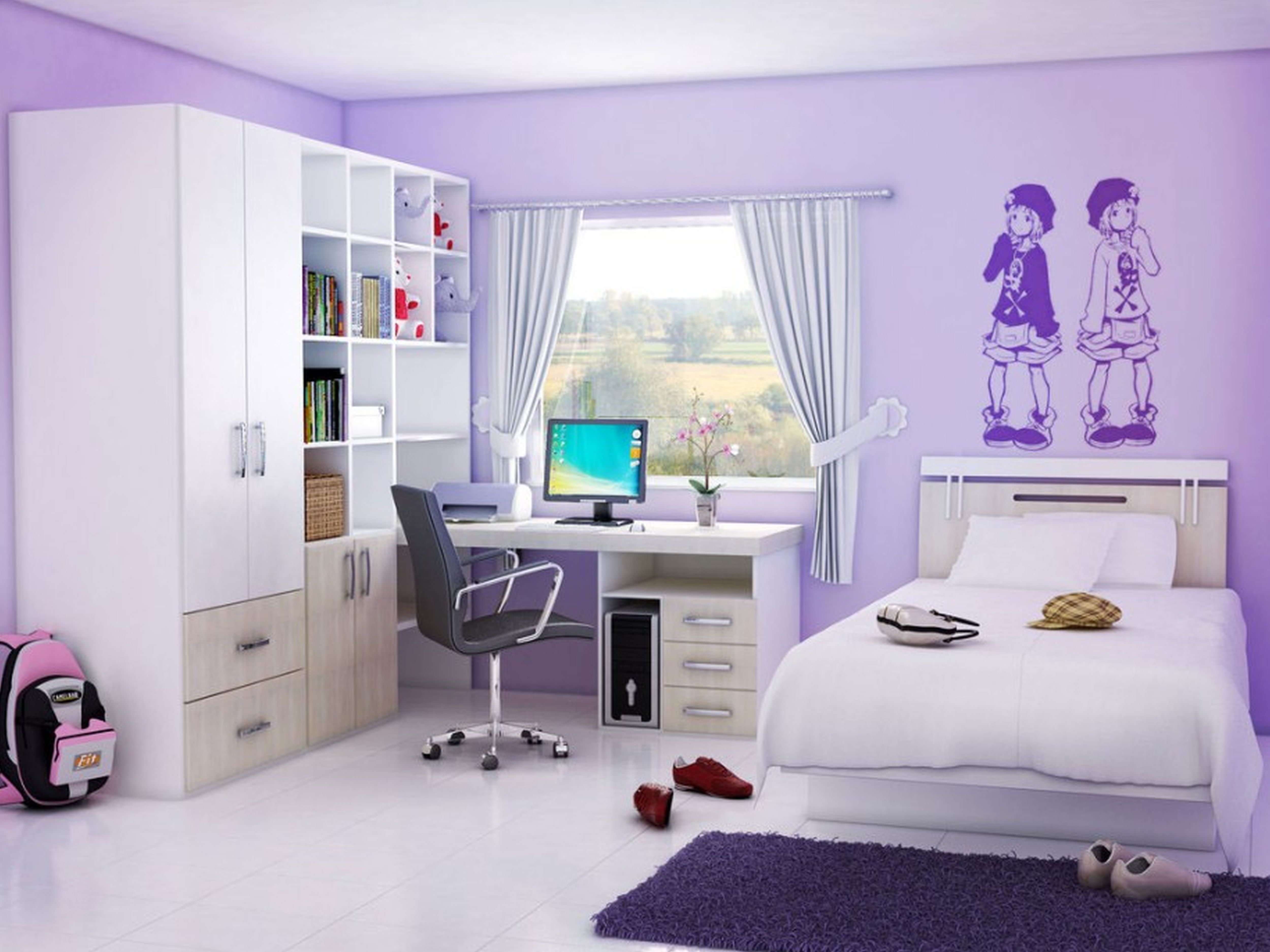lovely tidy clean girl teenage bedroom design style featuring white ceramic floor tiles and purple and white dry wall and ceiling paint color