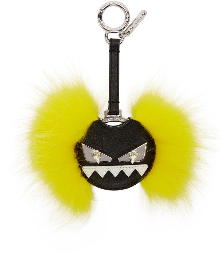 Fendi Monster Crystal Embellished Fox Fur Keyring - Yellow & Orange 5jAmY0WYH8