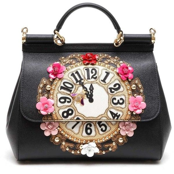 DOLCE   GABBANA Medium sicily tote  Clock  embroidered patch ( 1,265) ❤  liked 9dde5add84