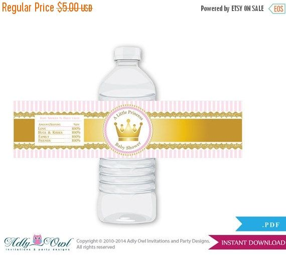 Girl Princess Baby Shower Water Bottle by adlyowlinvitations