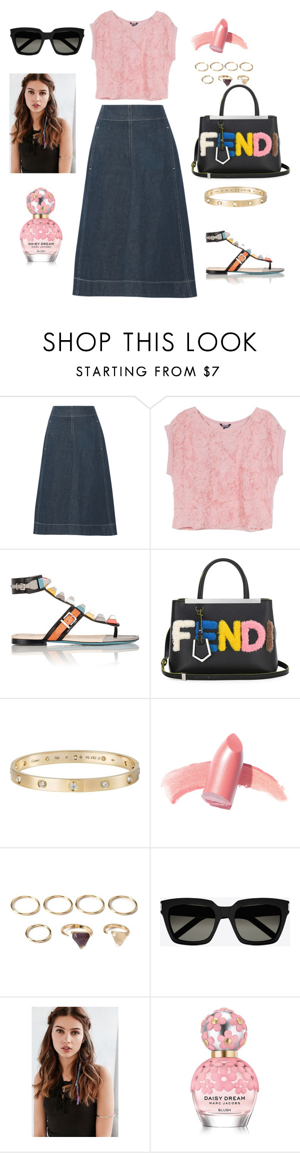 """pink and denim"" by aagyekumwaa ❤ liked on Polyvore featuring Lemaire, Fendi, Cartier, Elizabeth Arden, Forever 21, Yves Saint Laurent, REGALROSE and Marc Jacobs"