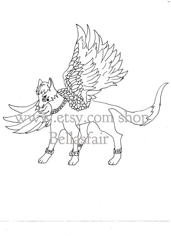 Hand Drawn Mythical Winged Wolf Coloring By Bellasfair