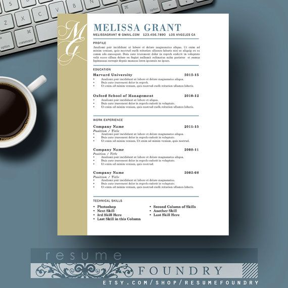 One Page Elegant Resume Template Cover Letter Reference Sheet