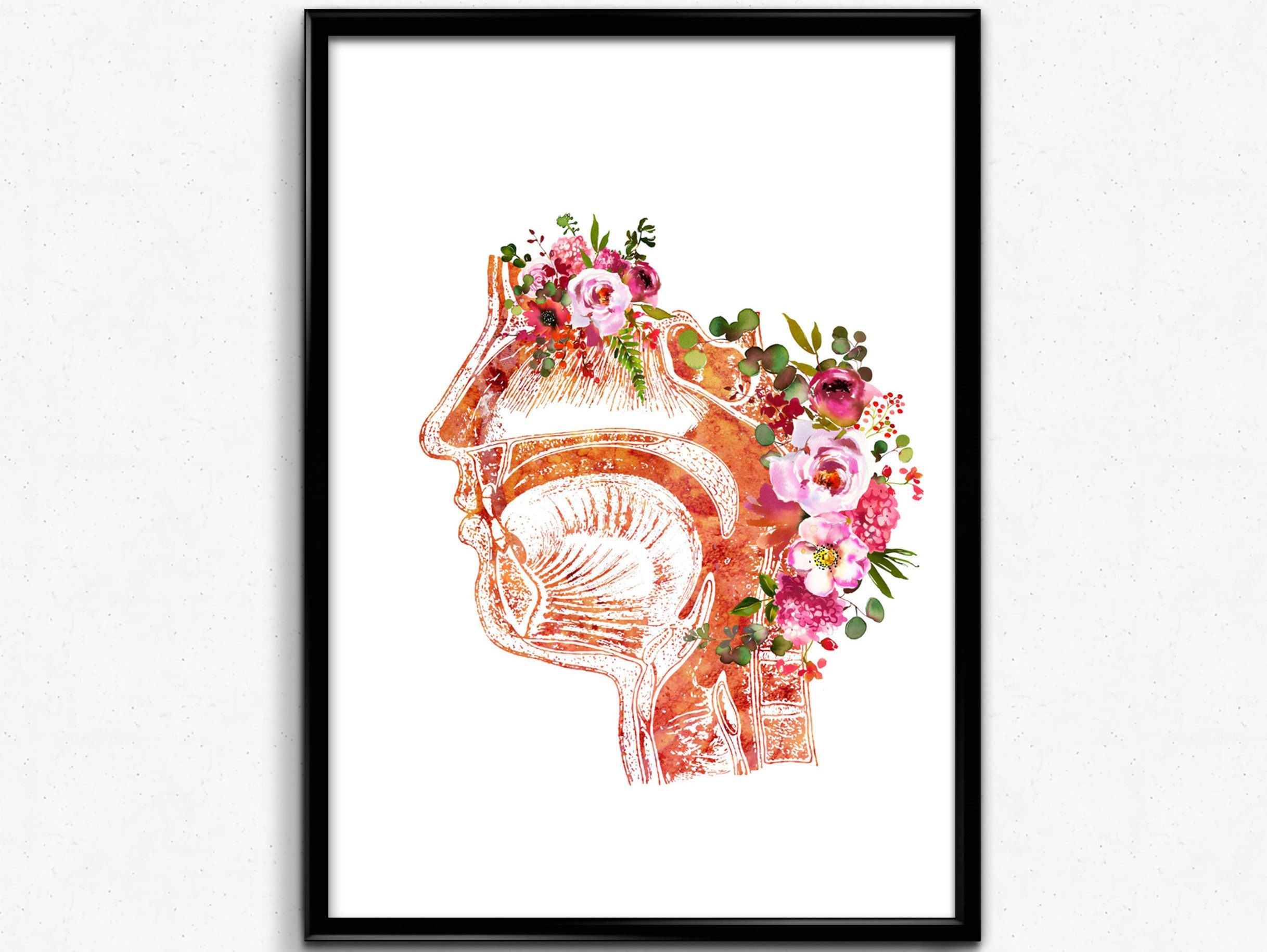 Respiratory System Watercolor Print Nose Mouth Throat Larynx