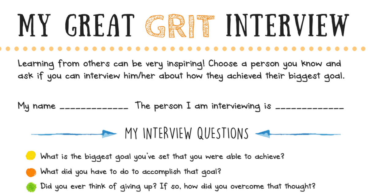 My Great Grit Interview printable for kids - big life