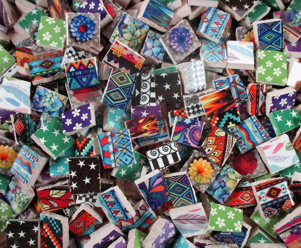 Ceramic Mosaic Tiles 2 Pounds Mixed Boho Colorful Tiles Bulk