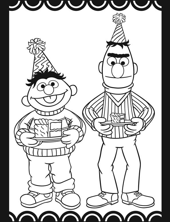 Sesame Street Birthday Party Stained Glass Coloring Book
