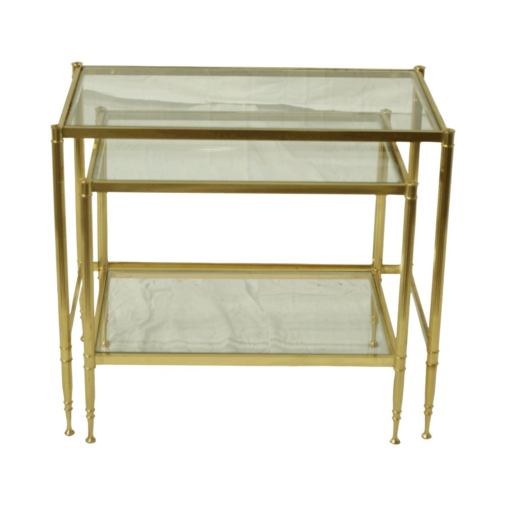 Regency Nesting Tables: Vintage hollywood regency square brass nesting tables with glass top. Sundrop Vintage Rentals/ Rent Vintage Furniture in California for Weddings/ Parties/ Events/ Photo shoot/ Bridal Shower/ Sofa /Settee/ Vintage/ Boho/ Baby Shower/ Rentals