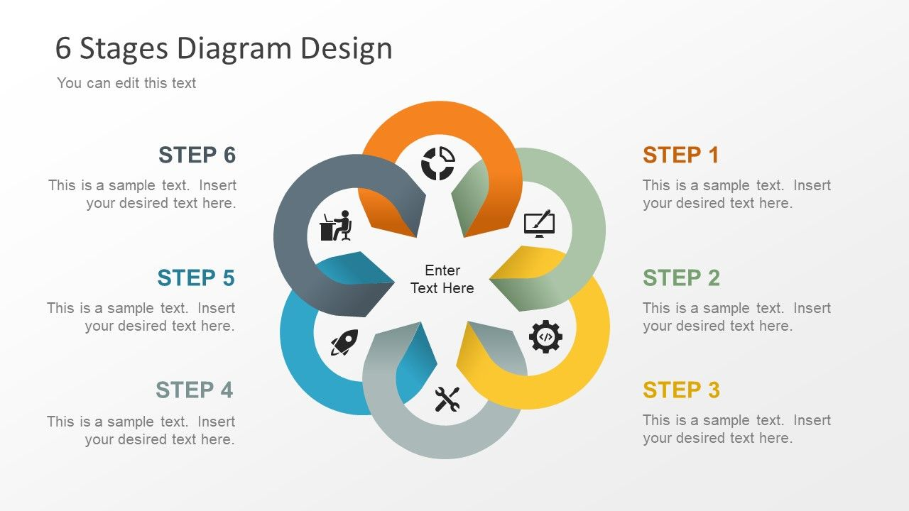 Free Editable 6 Stage Diagram For Powerpoint  With Images