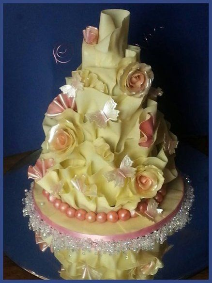 Crystal white chocolate wrap  wedding cake with glossy butterflies and roses ~ all edible