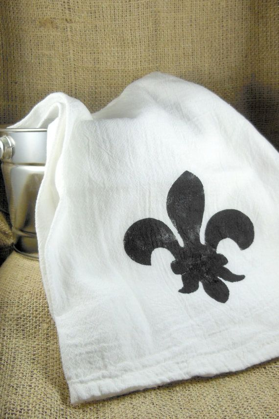 Fleur De Lis Flour Sack Towel Hand Towel Kitchen By Ccndesigns
