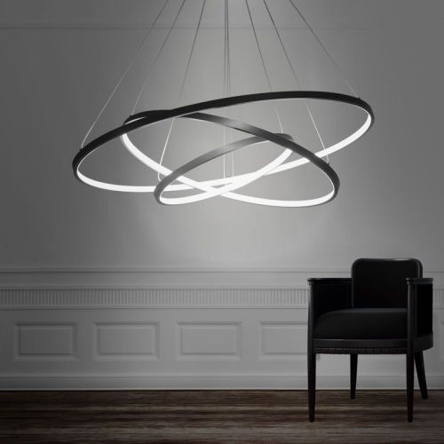 Modern design led 3rings chandelier lighting lights for Cool modern light fixtures